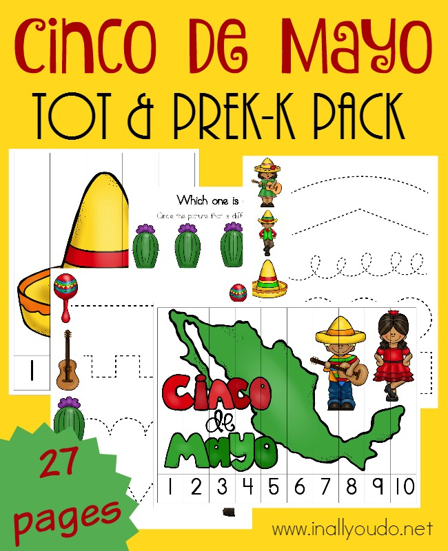 Your little ones will have fun learning about Cinco de Mayo with this coloful and activity-packed Tot & PreK-K Pack! Over 25 pages of FUN!! :: www.inallyoudo.net
