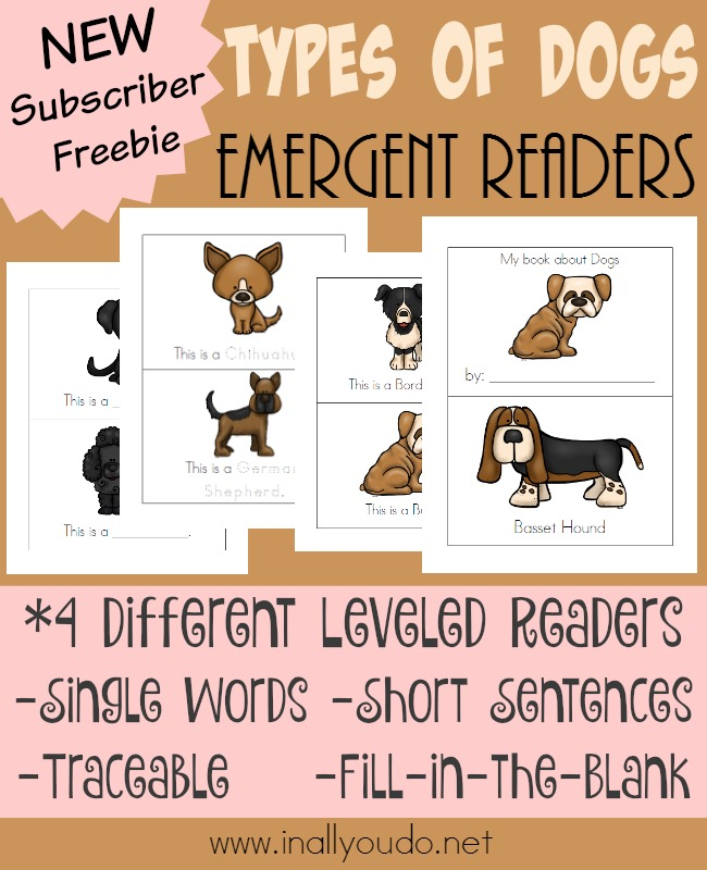 If you're studying dogs or mammals this year, don't miss these ADORABLE Types of Dogs Emergent Readers. Available in 4 different levels! :: www.inallyoudo.net