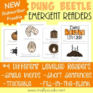 Study the Dung Beetle Life Cycle with these Emergent Readers. They are super fascinating creatures. And you can study them within an insect unit or by themselves. :: www.inallyoudo.net
