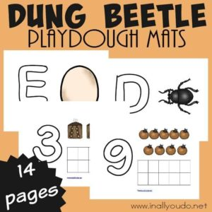 Practice letter formations and counting while honing those fine motor skills with these fun Dung Beetle Life Cycle Playdough Mats!! {14 total pages} :: www.inallyoudo.net