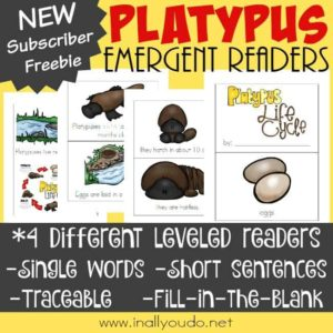 Little ones will have fun learning about the life cycle of the Platypus with these SUPER FUN Emergent Readers! :: www.inallyoudo.net