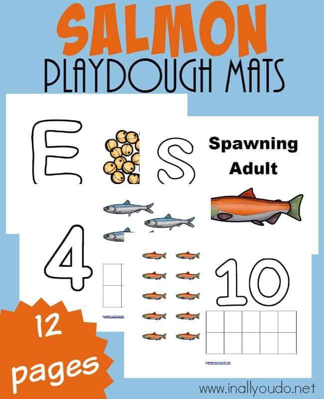 Little ones can work on fine motor skills, counting and more with these fun Salmon Playdough Mats!! {Includes 12 pages} :: www.inallyoudo.net