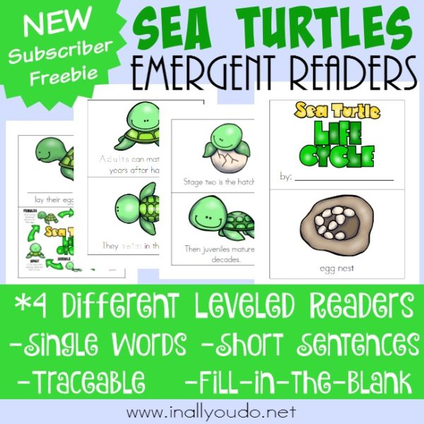If you're studying marine life, your little ones will love these Sea Turtle Emergent Readers. {4 different levels} :: www.inallyoudo.net