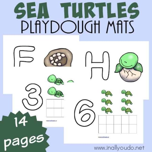 Your little ones will LOVE these fun Sea Turtle Playdough Mats to practice their counting and work on their fine motor skills! :: www.inallyoudo.net