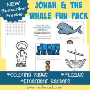 Grab this fun Jonah & the Whale Fun Pack full of activities and puzzles for kids of all ages. Includes coloring pages, emergent readers and word puzzles! :: www.inallyoudo.net