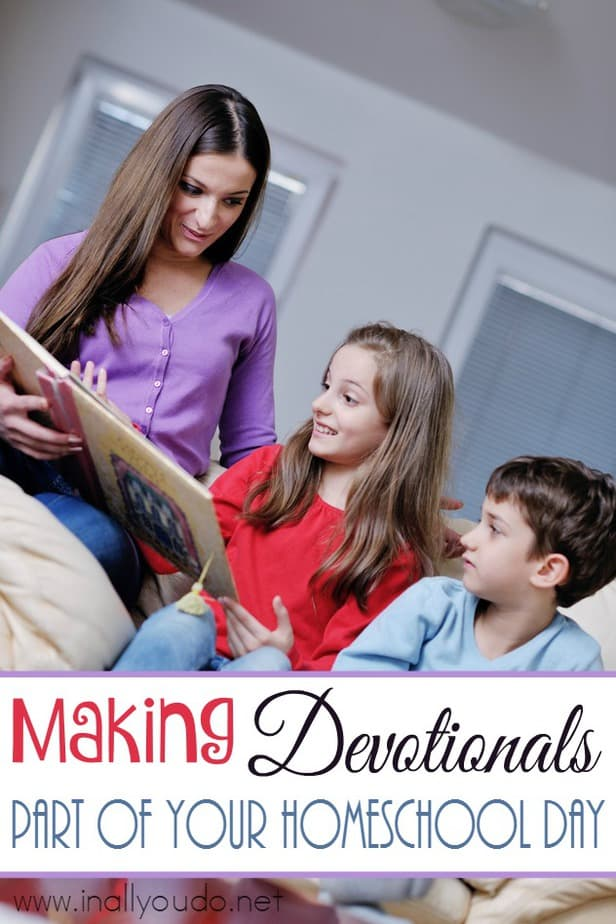 Do you want to add Bible devotions in to your homeschool day, but you're not sure how? Here is how we have made it work in our house! :: www.inallyoudo.net