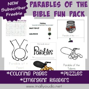 I love teaching the parables to my kids. This Parables of the Bible Fun Pack includes coloring pages, emergent readers and puzzles for all ages! :: www.inallyoudo.net