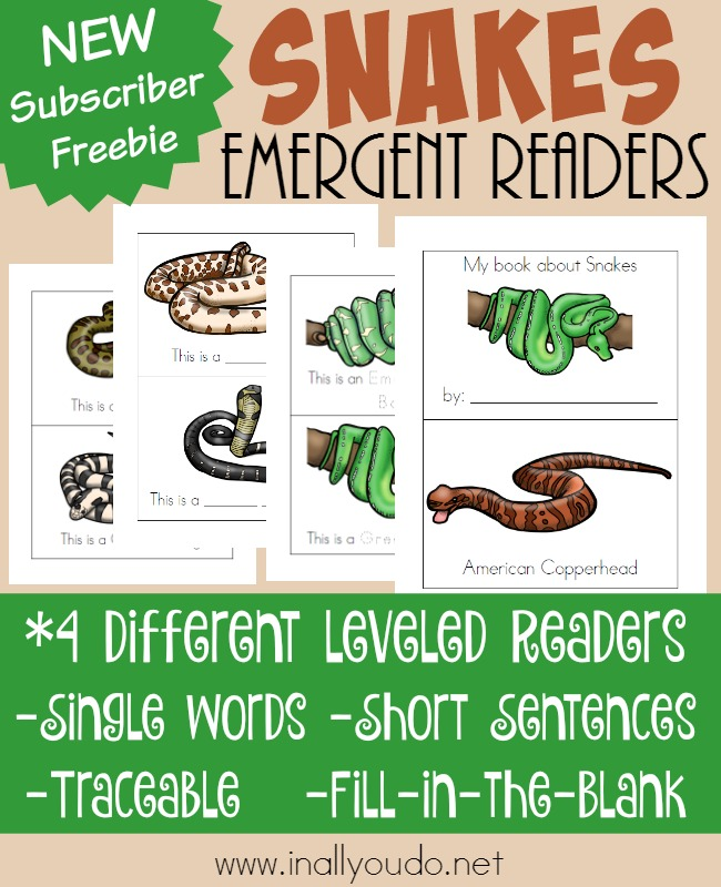These types of snakes emergent readers are a great way to identify 10 different types of snakes. Available in over 4 different reading levels. :: www.inallyoudo.net