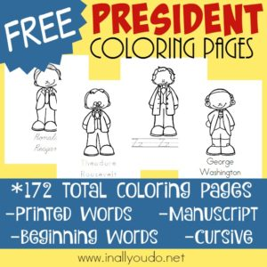 Learning the names of each president is just part of history. Make it fun for little ones and big kids alike with these President Coloring Pages! Over 170 pages in 4 different handwriting levels! :: www.inallyoudo.net