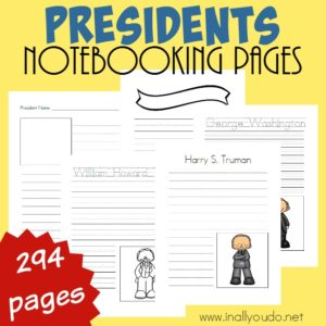 These Presidents Notebooking pages are a great way for students to record what they research about our current and past presidents. Over 290 pages!! :: www.inallyoudo.net