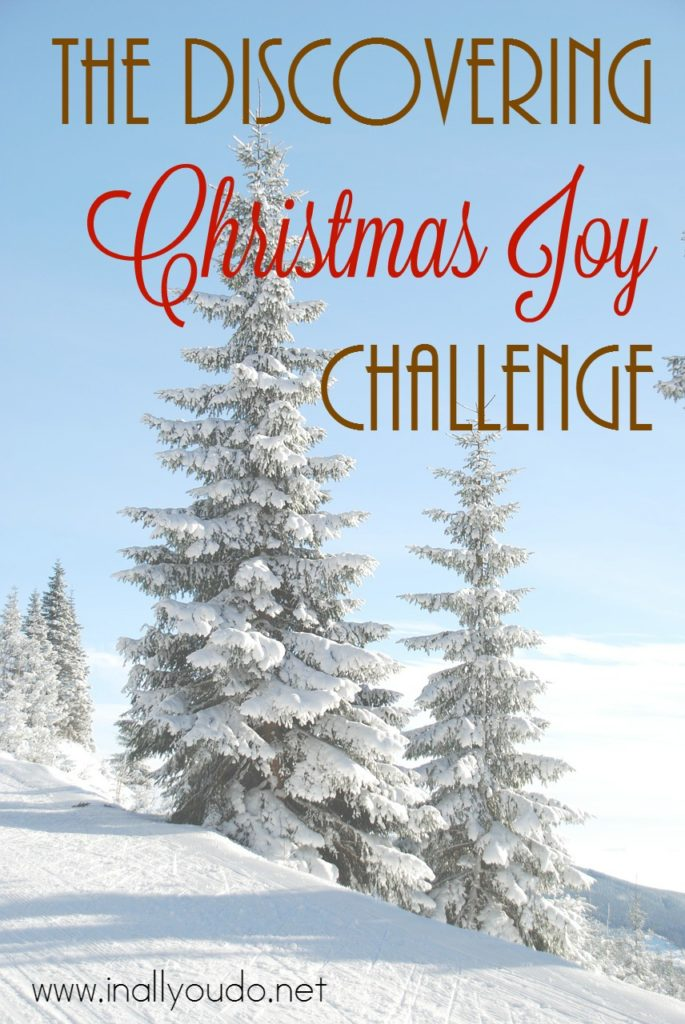 """It seems so often we try so hard to have the """"perfect"""" Christmas that we've lost sight of what is truly important. Take the Discovering Joy Christmas Challenge this year to refocus your family and truly enjoy Christmas together. :: www.inallyoudo.net"""