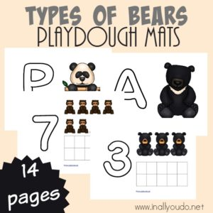 Little ones can practicing counting and using their fine motor skills with these fun Bears Playdough Mats. Includes 4 different letters and numbers 1-10. :: www.inallyoudo.net