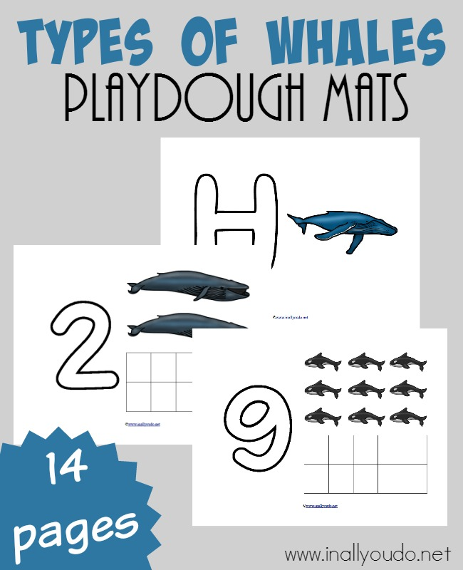 These Types of Whales Playdough Mats are perfect for the little ones in your family that want to learn and play along side your older kids. They go great with any Sea Creature or Marine unit! :: www.inallyoudo.net