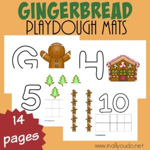 Gingerbread cookies are perfect this time of year! Get little ones excited about making them and learning with these fun Gingerbread Playdough Mats! :: www.inallyoudo.net