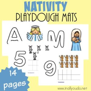 Little ones will love practicing their fine motor skills and counting with these Nativity Playdough Mats. :: www.inallyoudo.net