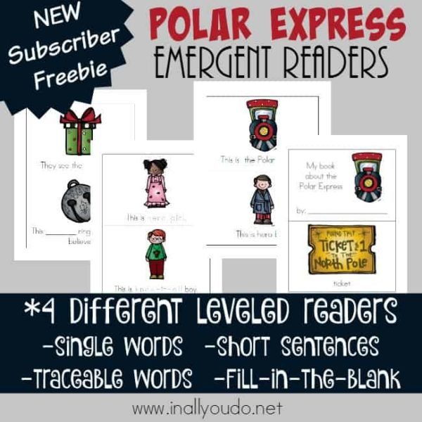 Polar Express is such an iconic movie during this time of the year. Help little ones practice their reading skills while learning more about the movie with these fun Polar Express inspired Emergent Readers! :: www.inallyoudo.net