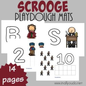 """A Christmas Carol"" is a classic Christmas movie. Don't miss these fun Scrooge inspired Playdough Mats to keep your little ones entertained while you read the book or watch the movie! :: www.inallyoudo.net"