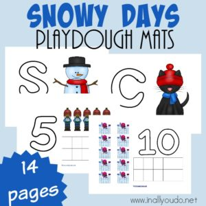 Let it Snow, Let it Snow, Let it Snow! These fun Snowy Days playdough mats are perfect for any cold and snowy day this winter! :: www.inallyoudo.net