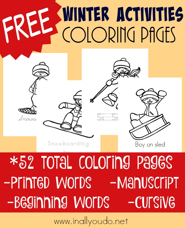 If your kids love winter activities, these coloring pages will be a perfect fit! Download and color for hours - even when the temps dip outside! :: www.inallyoudo.net