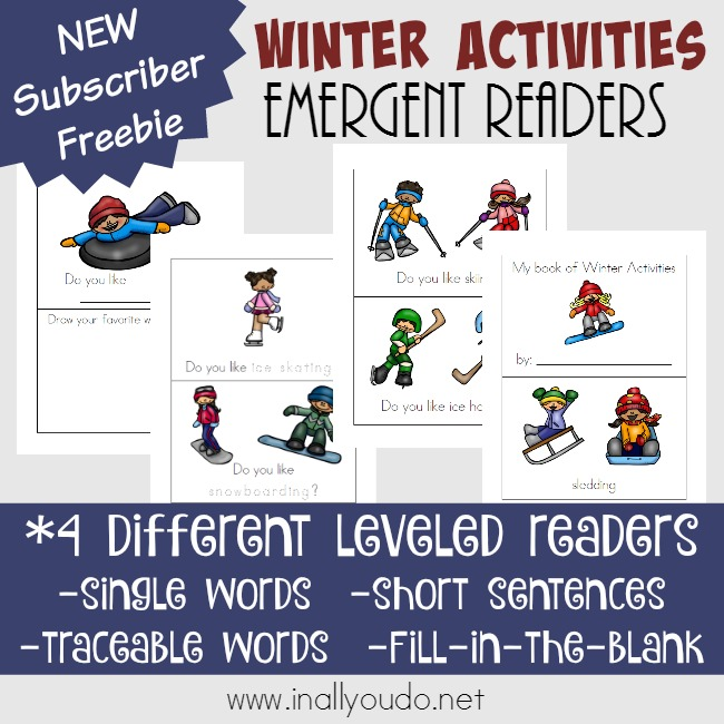 Winter Activities Emergent Readers