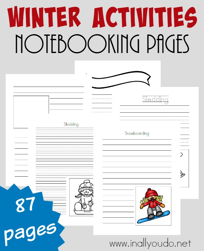 These Winter Activities Notebooking Pages are perfect for those who love winter and all the activities - skiing, sledding, snowboarding. This set includes 87 pages in a variety of styles for all ages. :: www.inallyoudo.net
