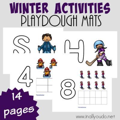 Winter Activities Playdough Mats