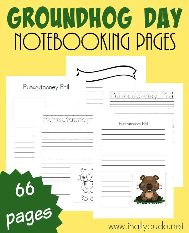 These Groundhog Day Notebooking Pages are a great way to add in some fun for your older kids this February. There are so many different uses for these pages!! :: www.inallyoudo.net