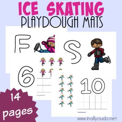 Ice Skating Playdough Mats