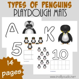 Are you studying penguins this year or headed to the zoo anytime soon? Grab these cute and fun Types of Penguins Playdough Mats for your littles! :: www.inallyoudo.net