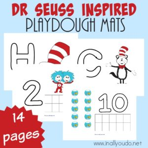 "4 Seuss Themed Playdough Mats with overlay ""Dr. Seuss Inspired Playdough Mats"""