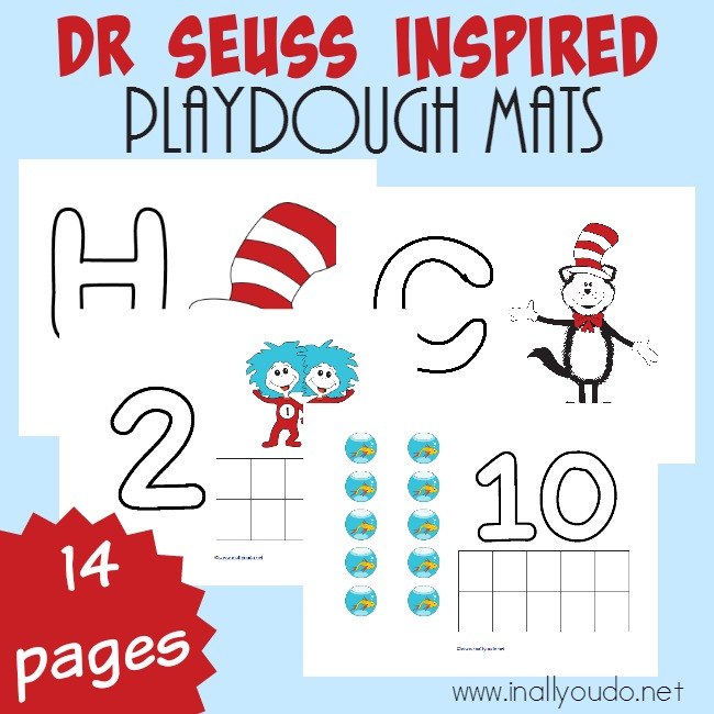 Dr Seuss Inspired Playdough Mats