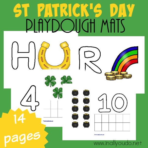 Playdough Mats are great for working on fine motor skills, counting, plus letter & number recognition. Grab these St. Patrick's themed mats today! :: www.inallyoudo.net