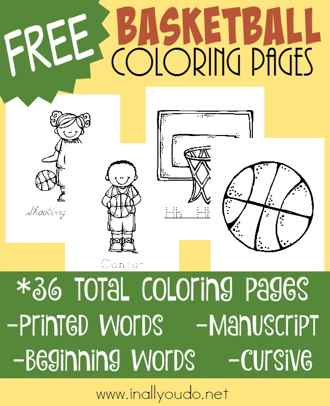 Are you a basketball fan? Do your kids love March Madness? Grab these fun Basketball Coloring Pages to get ready for the games! :: www.inallyoudo.net