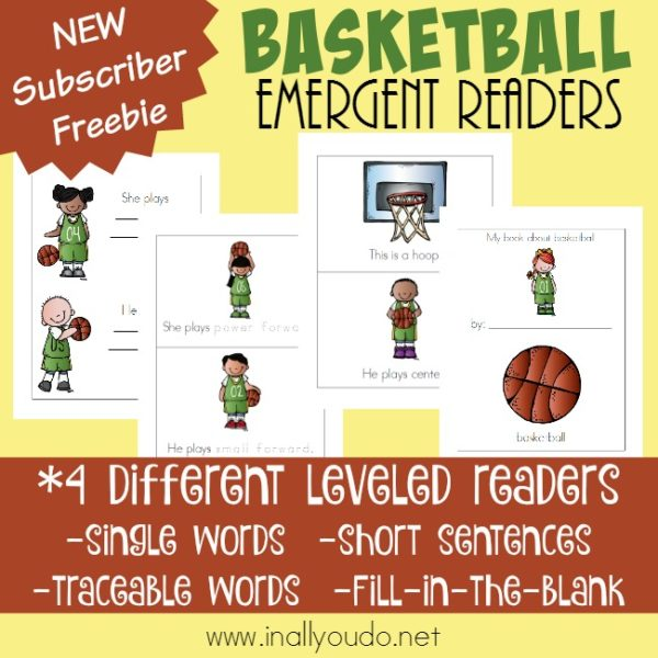 Whether your little ones love basketball or want to know more, these adorable Basketball Emergent Readers are perfect for budding readers! Available in Color and Black & White in 4 different levels. :: www.inallyoudo.net