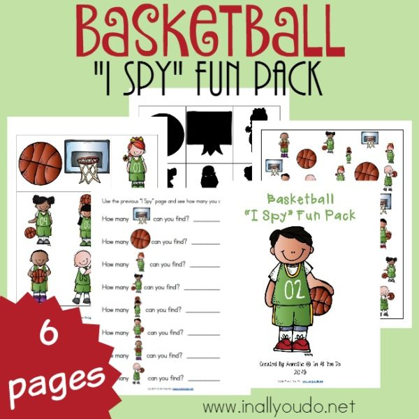 "Little ones will have fun with this Basketball themed ""I Spy"" Fun Pack. Includes an I Spy page, graphing page, shadow matching/memory game and more! :: www.inallyoudo.net"