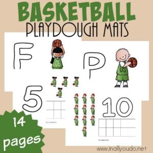 Help little ones work on their motor skills and counting with these ADORABLE Basketball Playdough Mats. Includes 4 Letter Mats and Numbers 1-10. :: www.inallyoudo.net