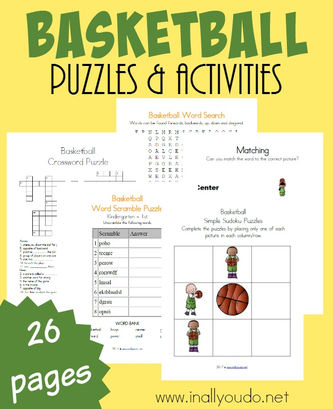 Get kids excited about learning with these super fun Basketball themed Puzzles & Activities. Geared toward PreK-5th grade, there is something in this pack for everyone! :: www.inallyoudo.net