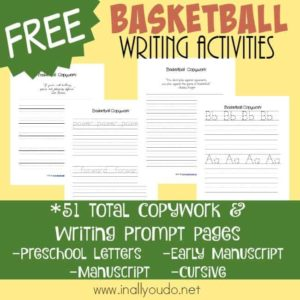 If you have basketball fans, they will love using their creative skills and practicing their handwriting with these Basketball themed Writing Activities. :: www.inallyouod.net