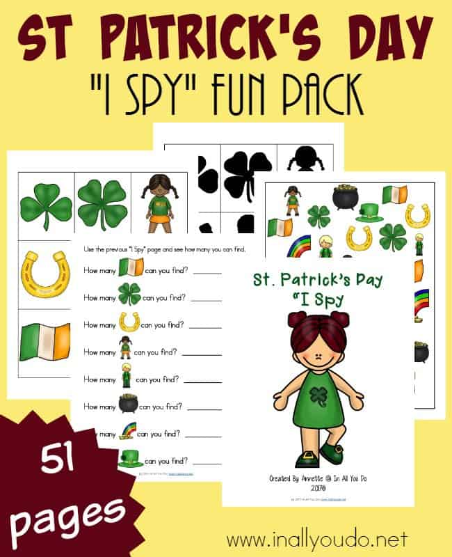 """This fun """"I Spy"""" pack will not disappoint. With a simple I Spy page, Can You Find page, graphing page and more! :: www.inallyoudo.net"""