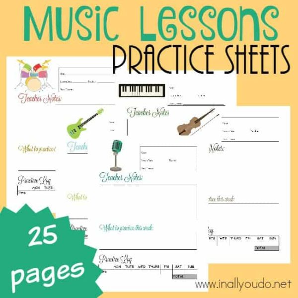 Music Lesson Practice Sheets