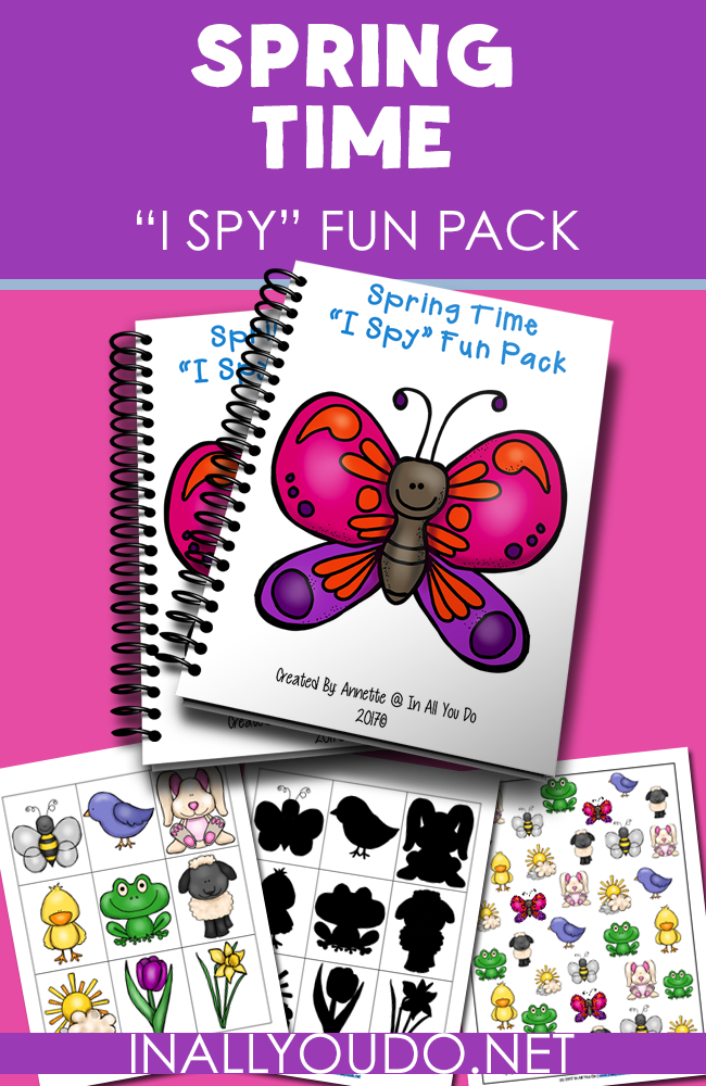 """Spring is here and that means more time outside! Little kids will enjoy this simple """"I Spy"""" Fun Pack to welcome Spring or occupy them on a rainy day. :: www.inallyoudo.net"""