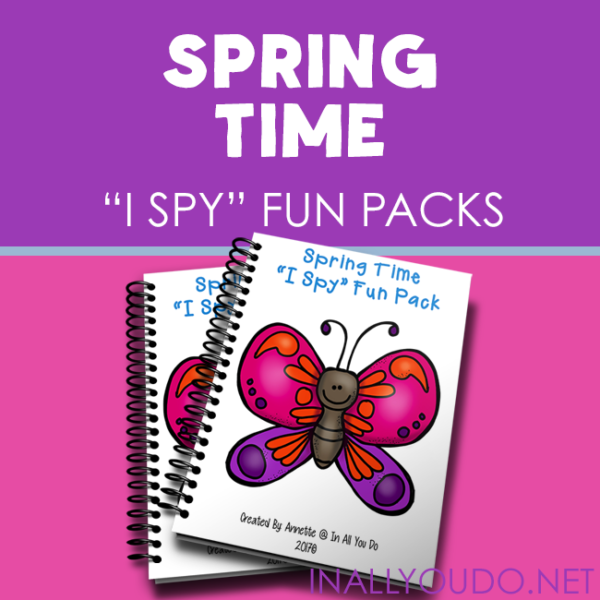 "Mockups of spring time ""I Spy"" fun pack printable books"