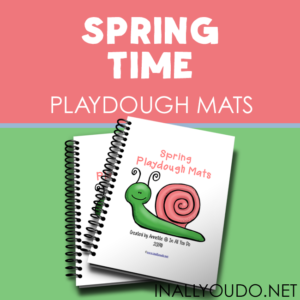 Spring time brings lots of sunshine and fun, but rainy days too. Use these adorable Spring Time Playdough Mats for extra practice on those rainy days! :: www.inallyoudo.net