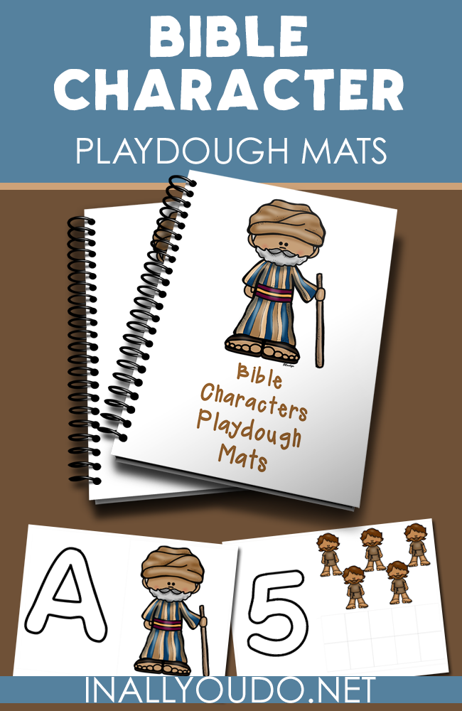 Help your little ones learn about different Bible Characters while working on their fine motor skills with these fun playdough mats! Playdough mats are a great multi-sensory activity for kids. :: www.inallyoudo.net