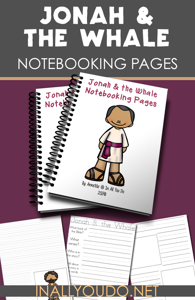 Notebooking pages are a great way to help kids remember and learn more about a person or subject. These Jonah & the Whale are perfect for kids of all ages as they read through the Bible story. :: www.inallyoudo.net