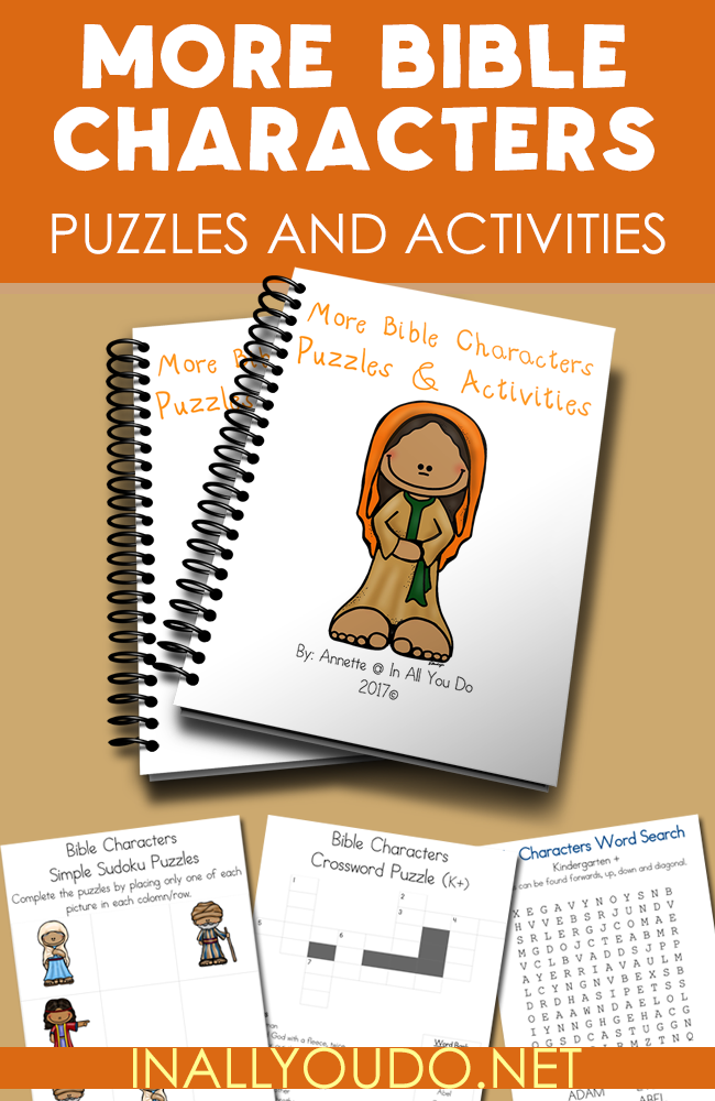 Learn about 12 more Bible Characters with these FUN & FREE Puzzles & Activities!! Includes 23 pages of Crosswords, Word Searches, Sudoku, Matching & MORE!! Kids, ages PreK-5th, will enjoy these puzzles & activities. :: www.inallyoudo.net