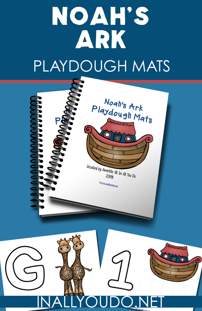 These Noah's Ark Playdough Mats are the perfect way to introduce little ones to the Bible story as well as work on their fine motor skills, counting and letter recognition! :: www.inallyoudo.net