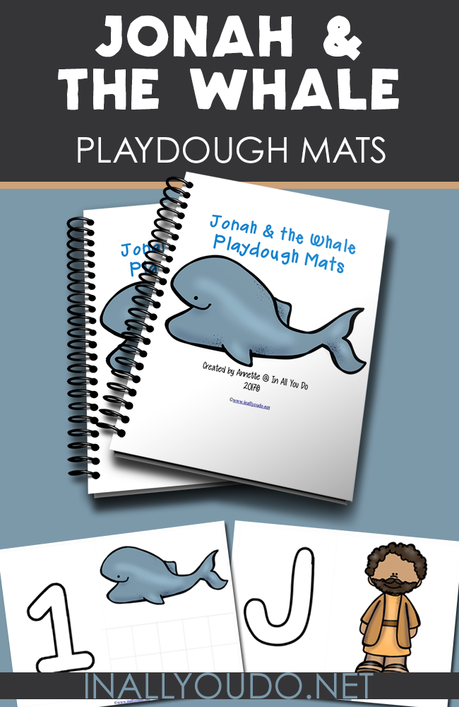 Help bring the story of Jonah and the Whale to life for little ones with this fun playdough mats. Includes 4 letters and numbers 1-10. :: www.inallyoudo.net