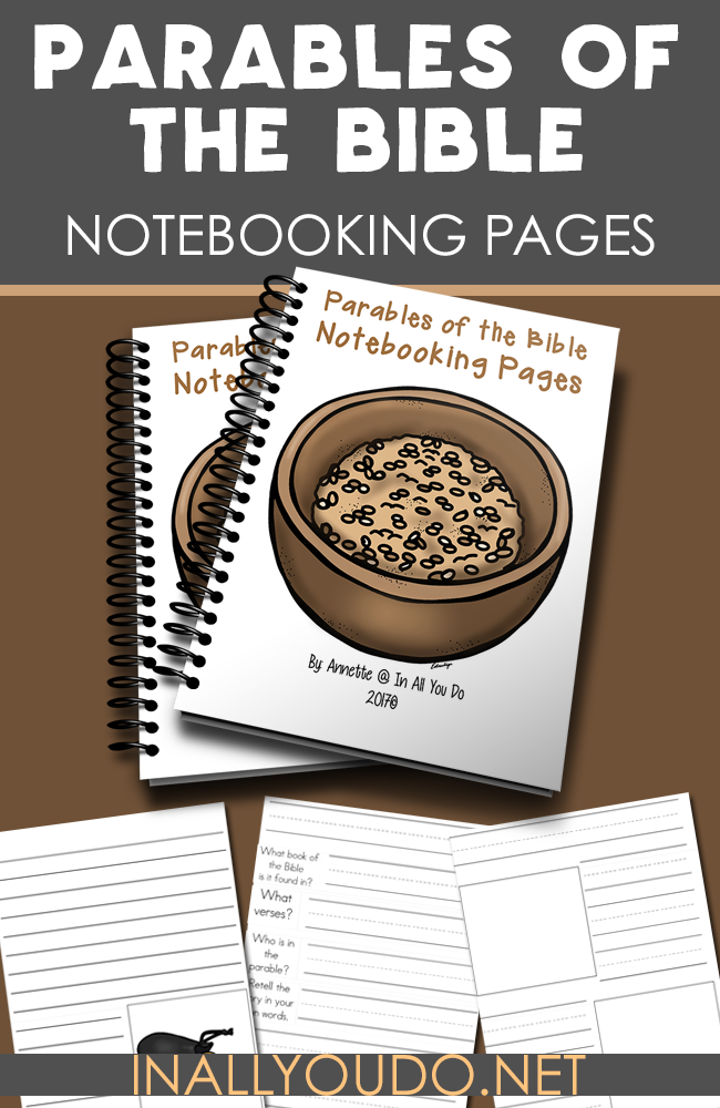 These Parables of the Bible Notebooking pages are perfect for kids of all ages as they read through the different stories in the Bible. Includes 18 generic pages and 64 color and black & white pages in 3 different lined writing styles. :: www.inallyoudo.net
