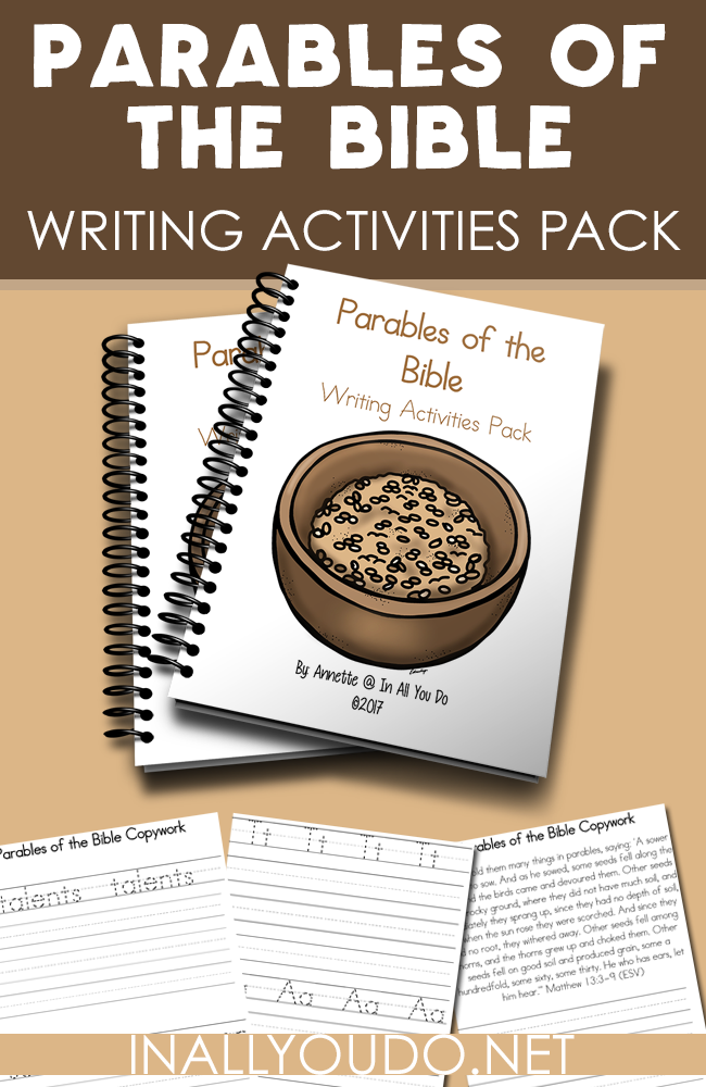Help kids remember the Scriptures and the Parables of the Bible with these Writing Activities. Includes 66 pages of copywork and writing prompts for PreK-5. :: www.inallyoudo.net